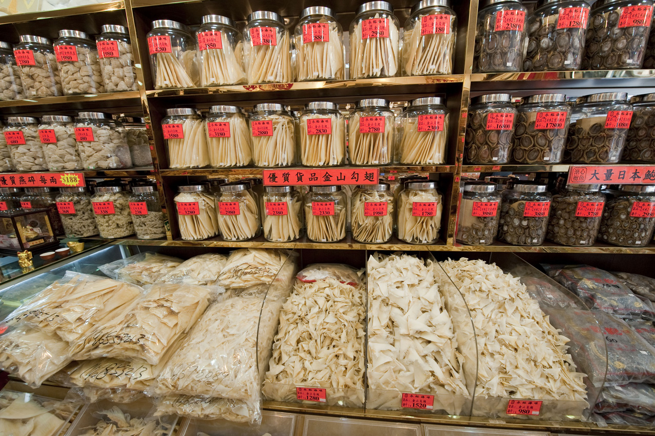 Dried shark fins in a Hong Kong shop