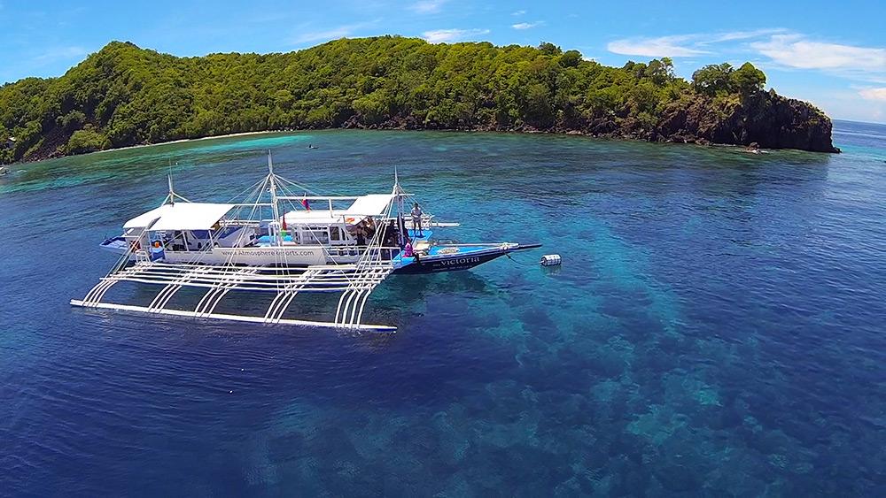 Dive boat near Apo Island