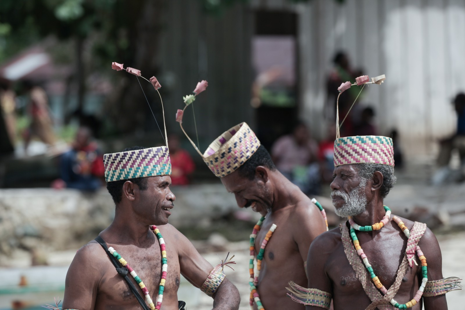 Local community decked out in traditional outfits
